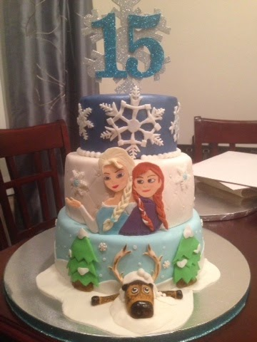 A Frozen themed birthday cake