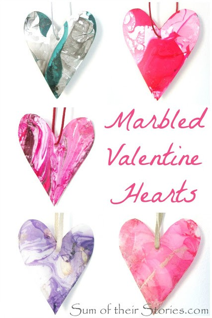 marbled valentine hearts
