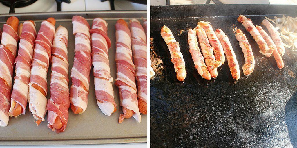 how to cook bacon hot dogs