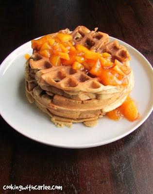 Sourdough Waffles Peaches