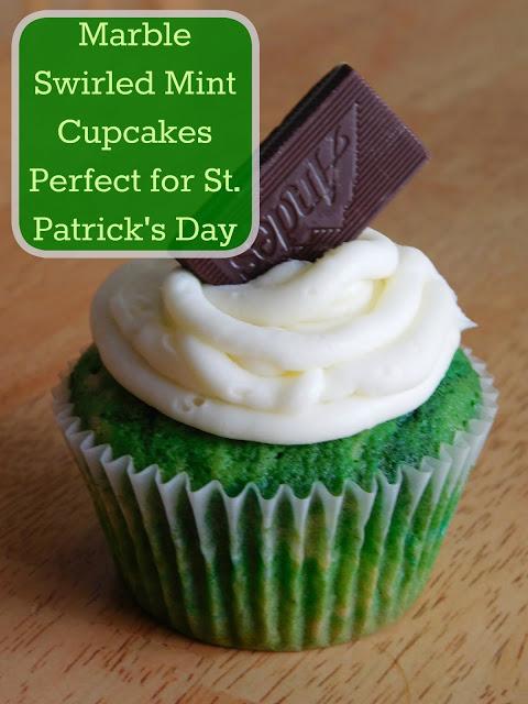 Marbled Swirled Mint Cupcakes
