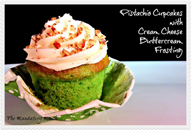 Pistachio Cupcakes with Cream Cheese Buttercream Frosting