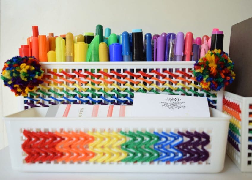 Rainbow Stitched Desk Storage