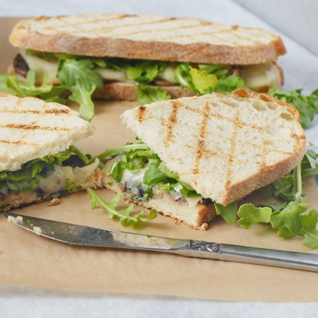 Mushroom Swiss Sandwich Melts with Arugula