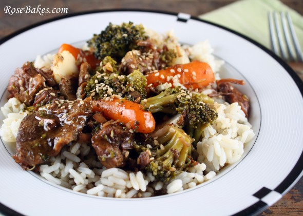 Crock Pot Beef & Veggies Over Rice