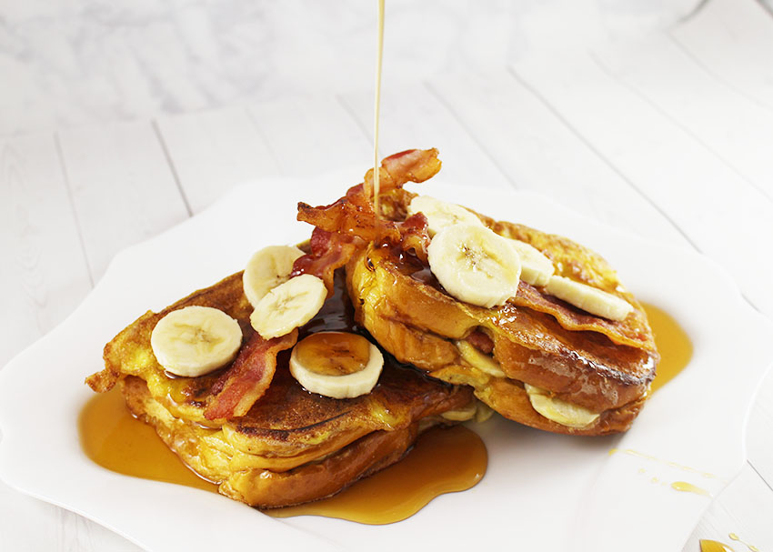Peanut Butter, Banana and Bacon Stuffed French Toast (Elvis Style)