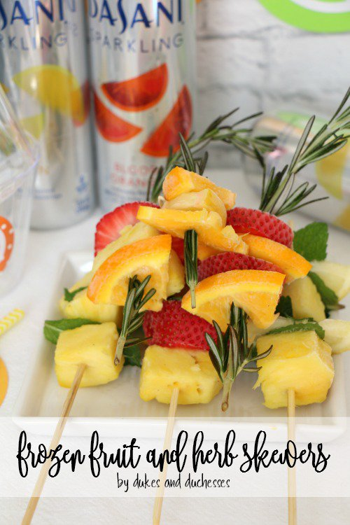 Frozen Fruit and Herb Skewers