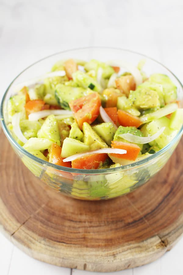 Cucumber, Onion, Avocado, and Tomato Salad!